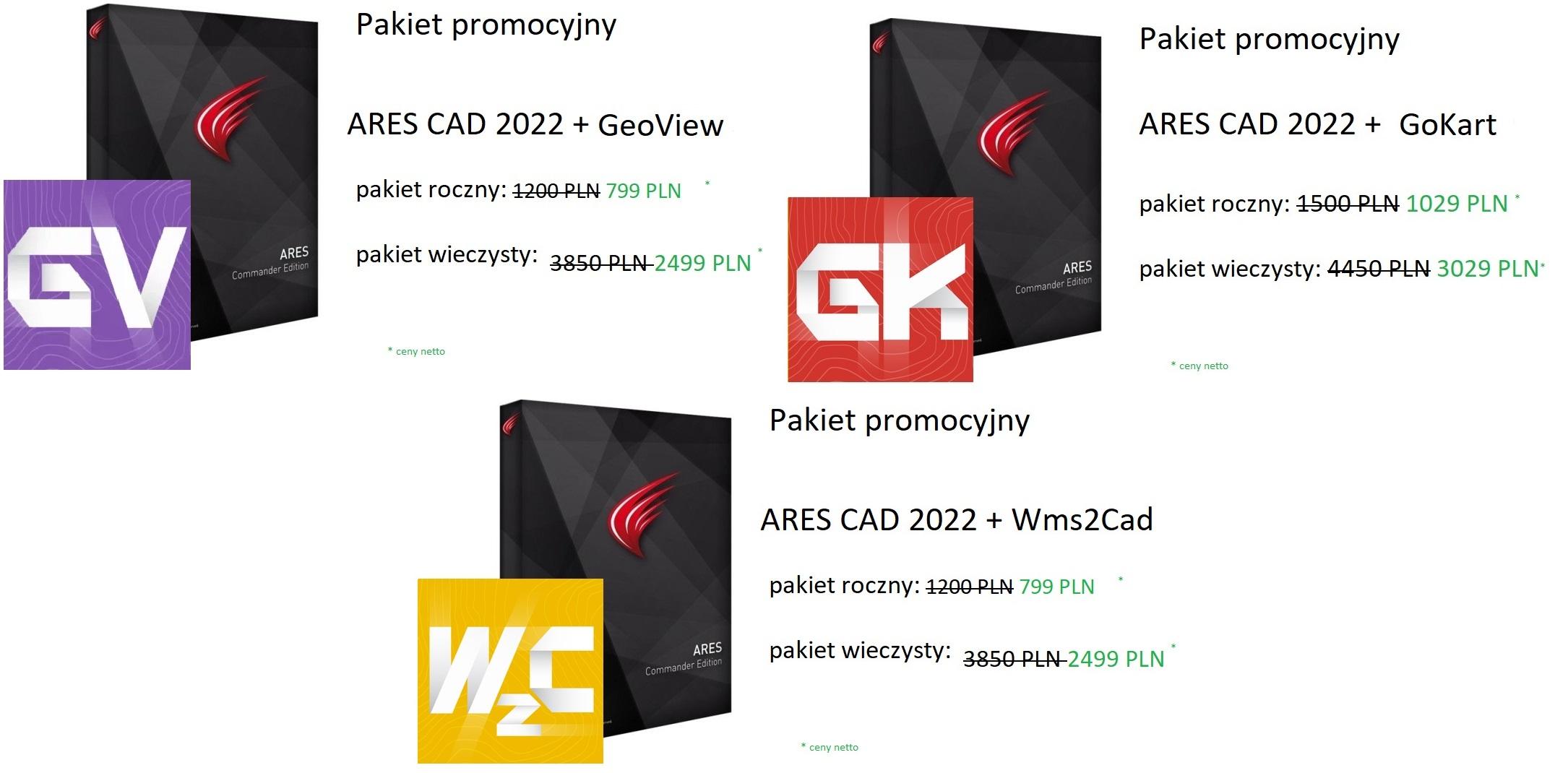 Ares Commander - ARES COMMANDER 2022 + NAKŁADKI GEODEZYJNE (GoKart, Wms2Cad lub GeoView) w promocyjnej cenie